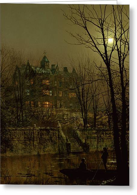 Punting Greeting Cards - Knostrop Old Hall, Leeds, 1883 Greeting Card by John Atkinson Grimshaw