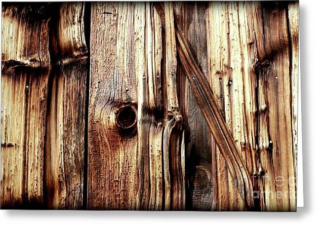Woodgrain Greeting Cards - Knotty Wood grain Greeting Card by Janine Riley