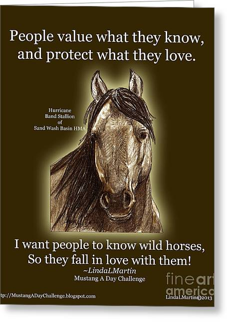 Llmartin Greeting Cards - Know Wild Horses Poster-Huricane Greeting Card by Linda L Martin
