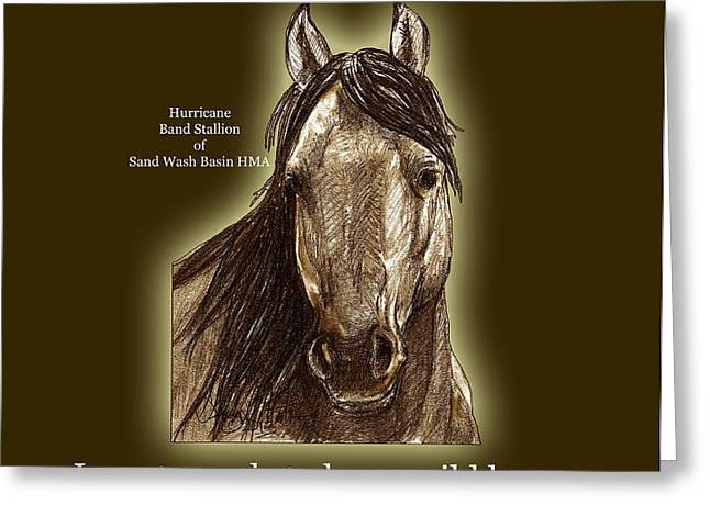 Know Wild Horses Poster-Huricane Greeting Card by Linda L Martin