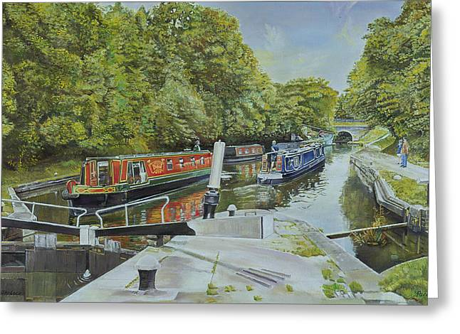 Midland Greeting Cards - Knowle Top Lock, 2003 Oil On Canvas Greeting Card by Kevin Parrish