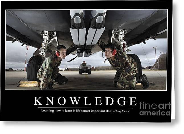 F-15 Poster Greeting Cards - Knowledge Inspirational Quote Greeting Card by Stocktrek Images