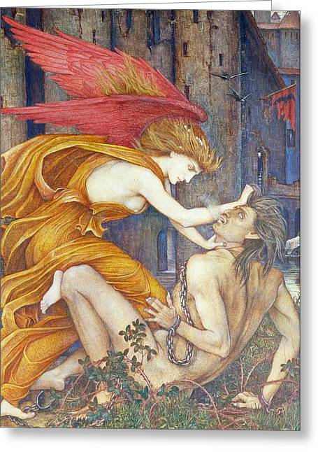 Strangling Greeting Cards - Knowledge Strangling Ignorance Greeting Card by John Roddam Spencer Stanhope