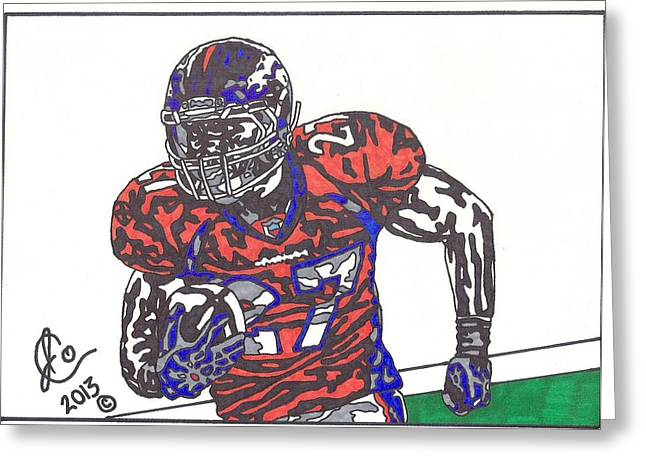 Pro Football Drawings Greeting Cards - Knowshon Moreno 2 Greeting Card by Jeremiah Colley