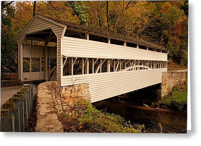 Knox Covered Bridge - Valley Forge Greeting Cards - Knox Bridge in Autumn Greeting Card by Michael Porchik