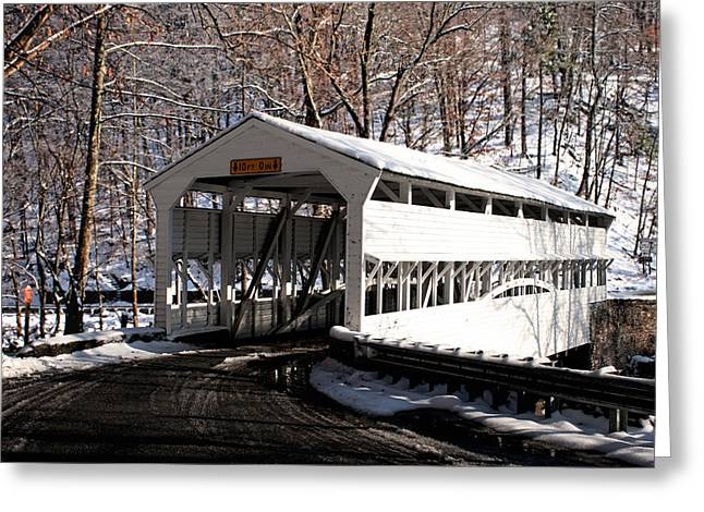 Knox Covered Bridge - Valley Forge Greeting Cards - Knox Bridge in the snow Greeting Card by Michael Porchik