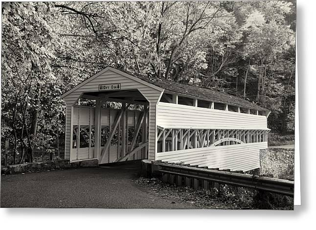 Knox Covered Bridge - Valley Forge Greeting Cards - Knox Covered Bridge in Sepia Greeting Card by Bill Cannon