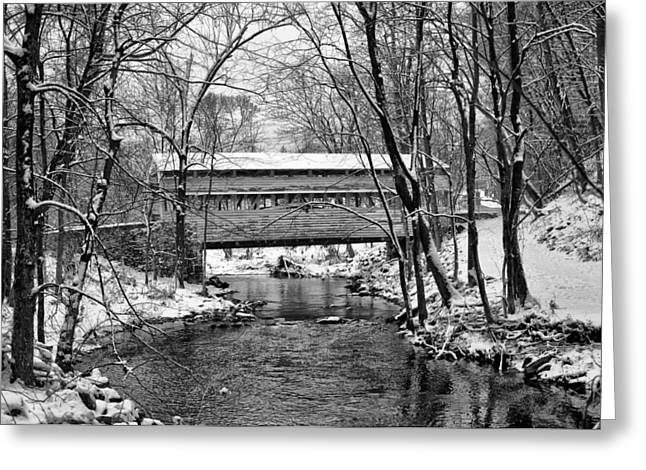 Knox Covered Bridge - Valley Forge Greeting Cards - Knox Covered Bridge Valley Forge in Black and White Greeting Card by Bill Cannon