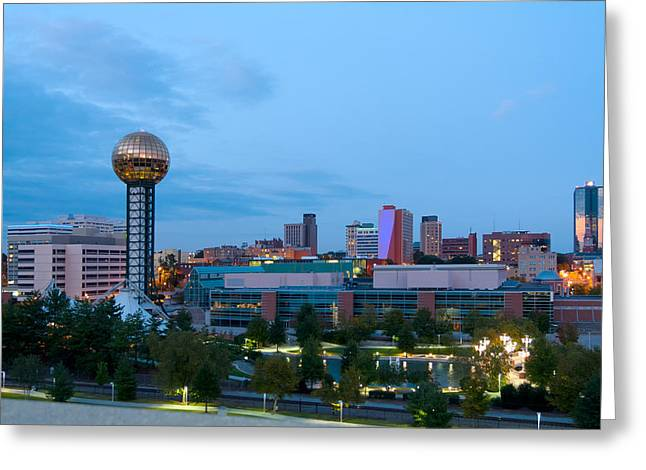 Best Sellers -  - Long Street Greeting Cards - Knoxville at Dusk Greeting Card by Melinda Fawver