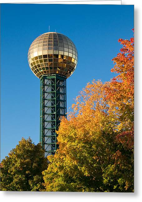 Tennessee Landmark Greeting Cards - Knoxville Sunsphere in Autumn Greeting Card by Melinda Fawver