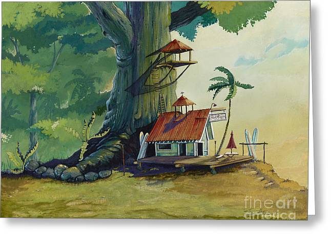 Paintings Greeting Cards - Ko olau Surf Shack Greeting Card by Bill Shelton