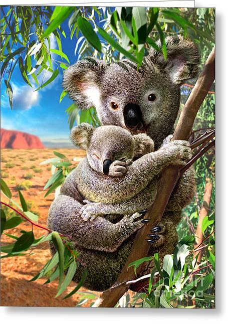 Hug Digital Art Greeting Cards - Koala and Cub Greeting Card by Adrian Chesterman