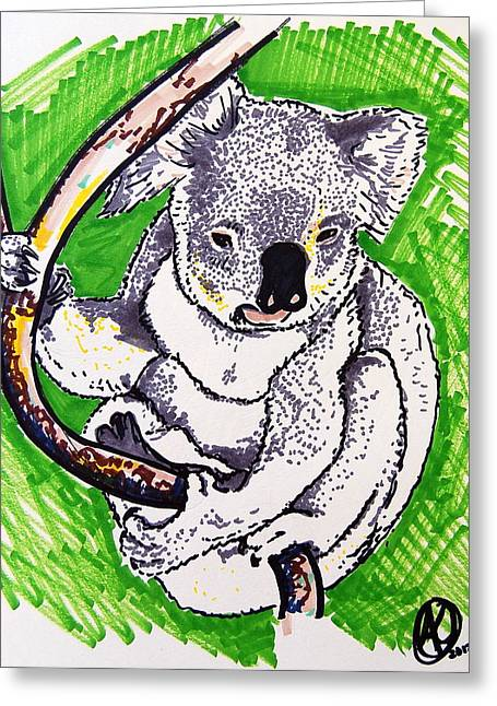 Biological Drawings Greeting Cards - Koala Greeting Card by Andrea Keating