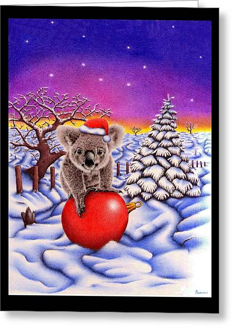 Coloured Pencil Greeting Cards - Koala on Ball Greeting Card by Heidi Vormer