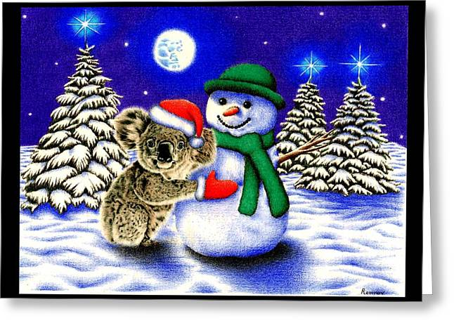 Coloured Pencil Greeting Cards - Koala with Snowman Greeting Card by Heidi Vormer