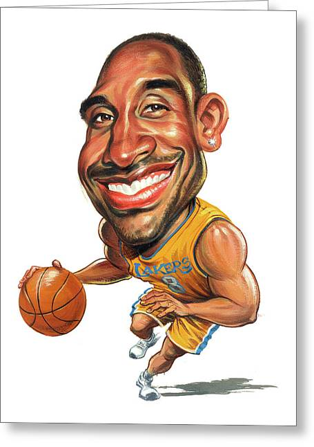 Los Angeles Lakers Greeting Cards - Kobe Bryant Greeting Card by Art