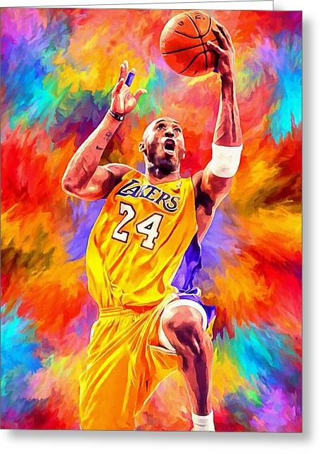 Kobe Bryant Greeting Cards - Kobe Bryant Basketball Art Portrait Painting Greeting Card by Andres Ramos