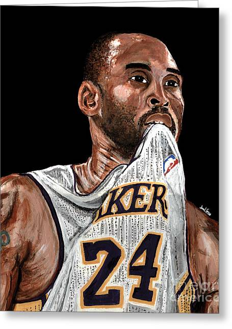 Slam Dunk Paintings Greeting Cards - Kobe Bryant Biting Jersey Greeting Card by Israel Torres