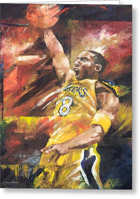 Kobe Bryant Greeting Cards - Kobe Bryant  Greeting Card by Christiaan Bekker