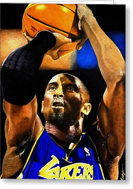 Best Sellers -  - Kobe Mixed Media Greeting Cards - Kobe Bryant Drawing Greeting Card by Dan Troyer