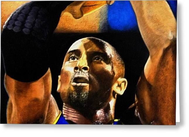 Kobe Bryant Drawing Greeting Card by Dan Troyer