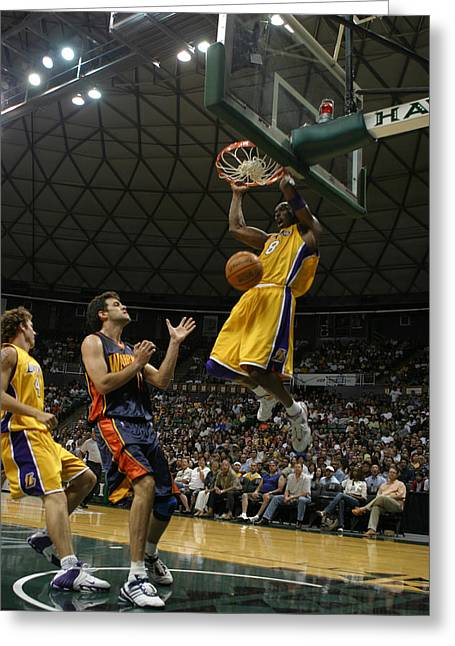 Kobe Bryant Dunk Greeting Card by Mountain Dreams