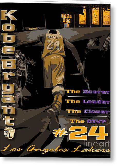 Kobe Bryant Greeting Cards - Kobe Bryant Game Over Greeting Card by Israel Torres