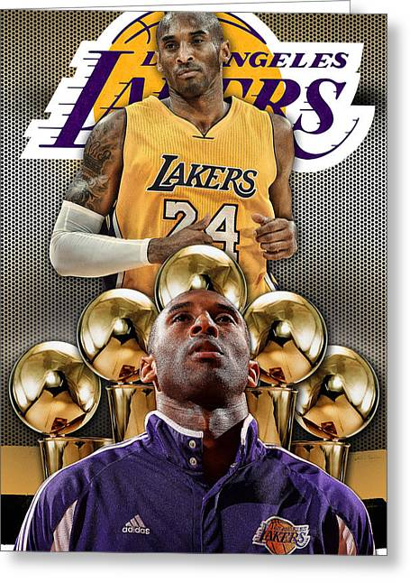 La Lakers Greeting Cards - Kobe Bryant Gold Greeting Card by Nicholas Legault