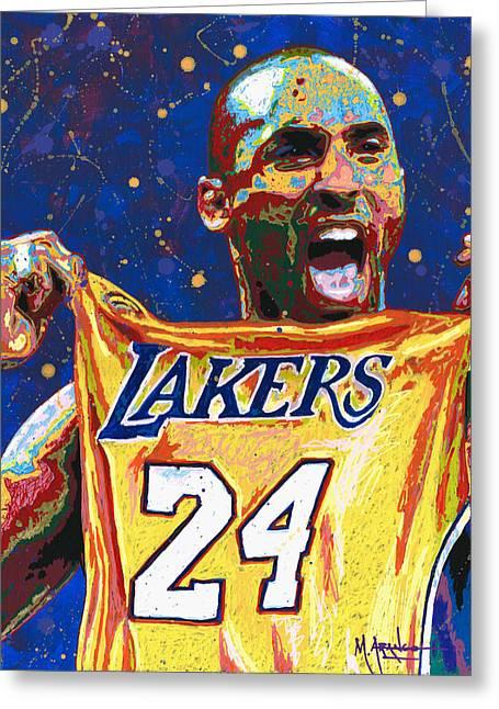 Shooting Hoops Greeting Cards - Kobe Bryant Greeting Card by Maria Arango