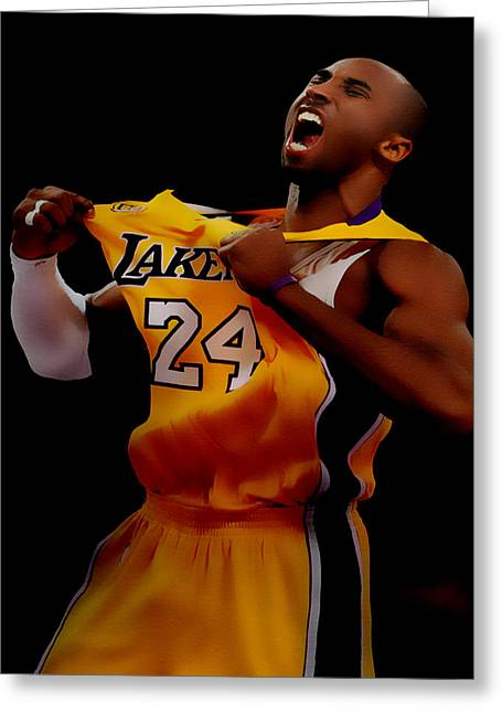 Karl Malone Greeting Cards - Kobe Bryant Sweet Victory Greeting Card by Brian Reaves
