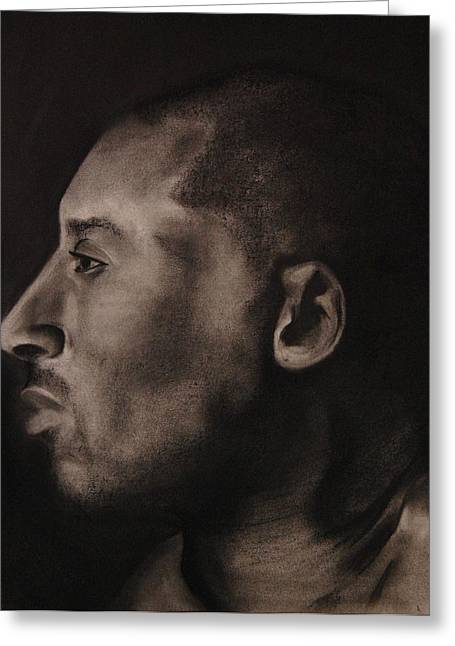 Role Models Drawings Greeting Cards - Kobe Charcoal 1 Greeting Card by Cuca Montoya