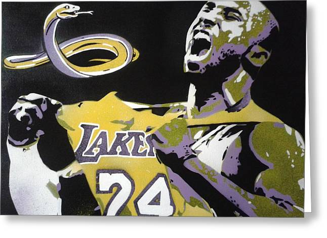 Lakers Mixed Media Greeting Cards - Kobe Greeting Card by Leon Keay