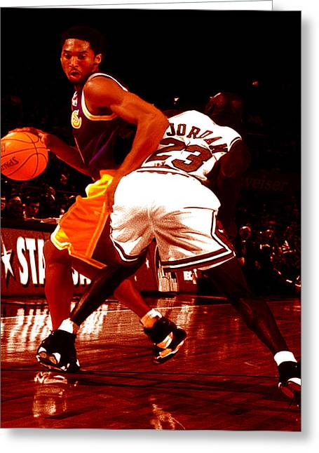 Karl Malone Greeting Cards - Kobe Spin Move Greeting Card by Brian Reaves
