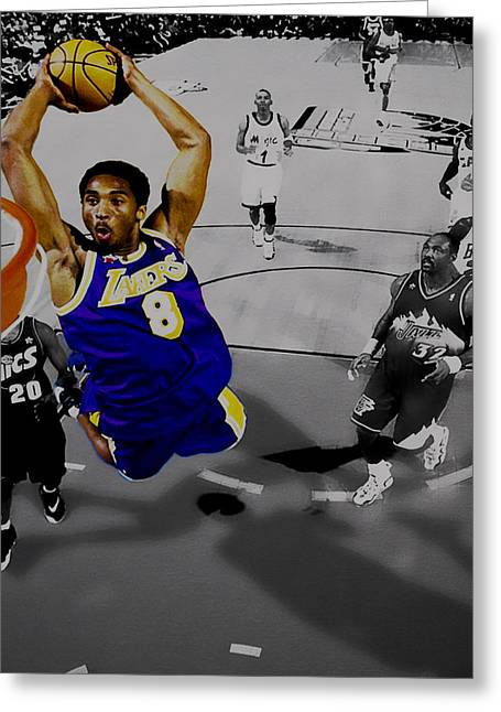 Karl Malone Greeting Cards - Kobe Took Flight II Greeting Card by Brian Reaves