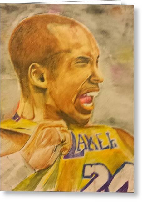 Kobe Bryant Drawings Greeting Cards - Kobe Victory Greeting Card by Tyrus Upshaw