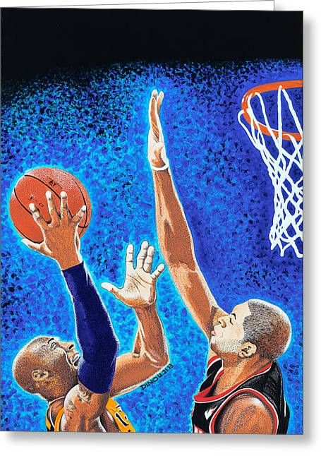 Bryant Paintings Greeting Cards - Kobe vs Batum Greeting Card by Dino Murphy