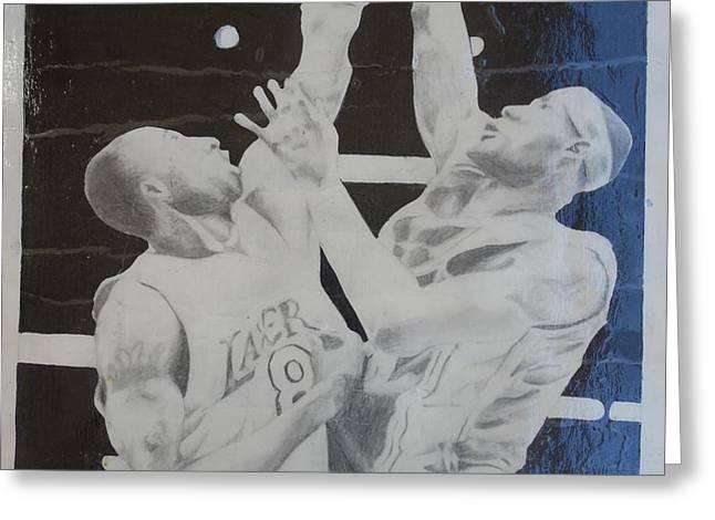 Kobe vs Lebron Greeting Card by Valdengrave Okumu
