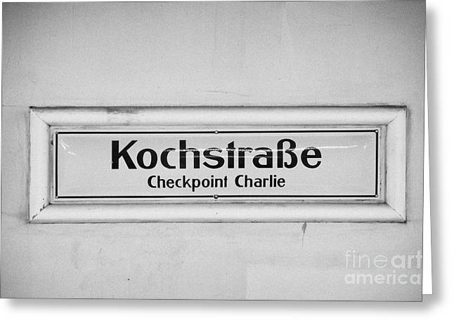 U-bahn Photographs Greeting Cards - Kochstrasse checkpoint charlie Berlin U-bahn underground railway station name Germany Greeting Card by Joe Fox
