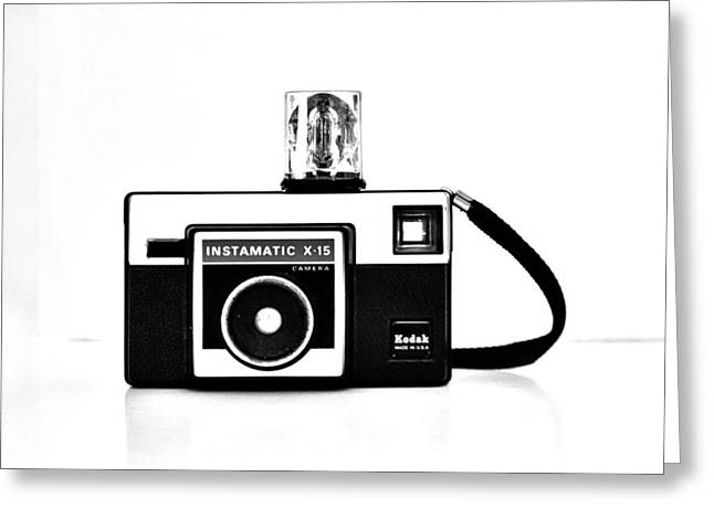 Kodak Instamatic In Black And White Greeting Card by Kelly Hazel
