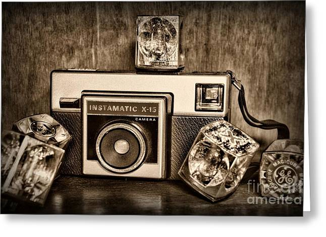 Kodak Instamatic X15 In Black And White Greeting Card by Paul Ward
