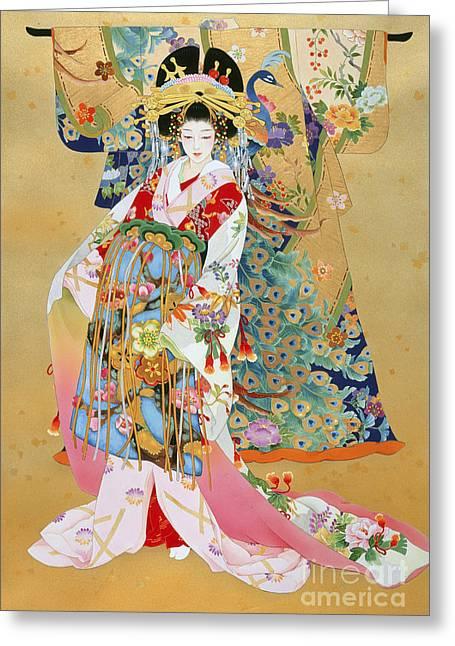 Patterned Dress Greeting Cards - Kogane Greeting Card by Haruyo Morita