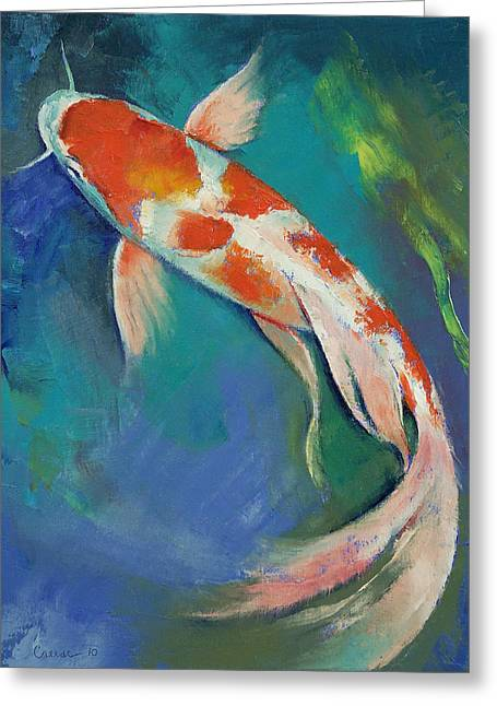 Japanese Koi Greeting Cards - Kohaku Butterfly Koi Greeting Card by Michael Creese