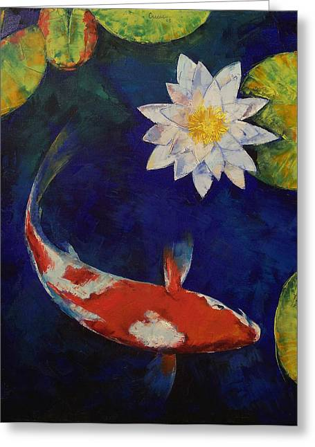 Meditate Greeting Cards - Kohaku Koi and Water Lily Greeting Card by Michael Creese