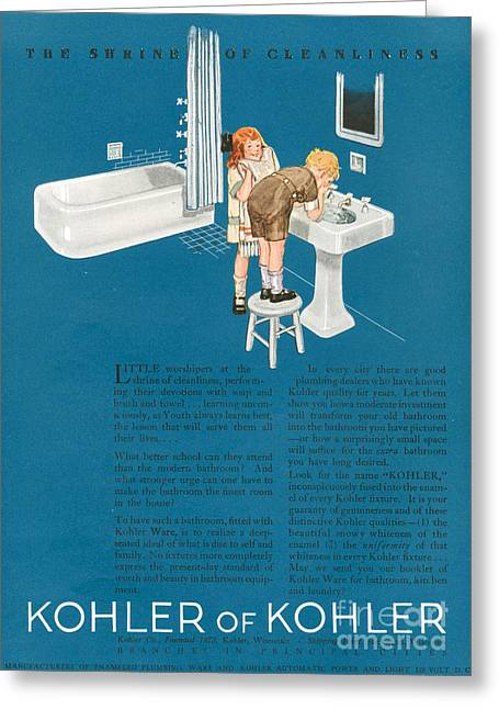 Twentieth Century Greeting Cards - Kohler 1923 1920s Usa Cc Bathrooms Greeting Card by The Advertising Archives