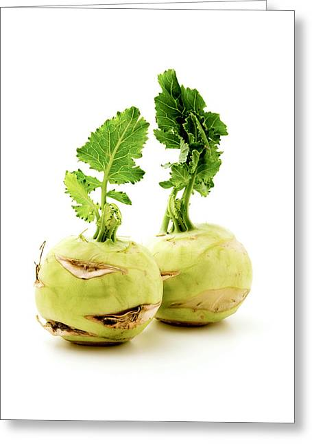 White Background Greeting Cards - Kohlrabi Greeting Card by Fabrizio Troiani