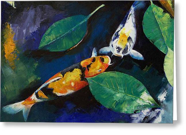 Koi And Banyan Leaves Greeting Card by Michael Creese