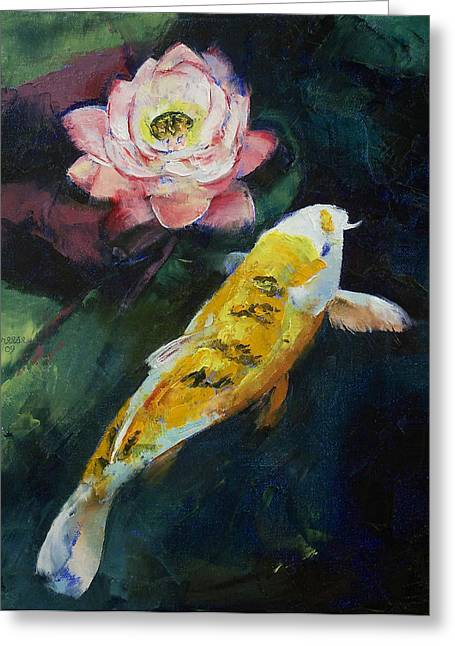 Lilly Pond Paintings Greeting Cards - Koi and Lotus Flower Greeting Card by Michael Creese