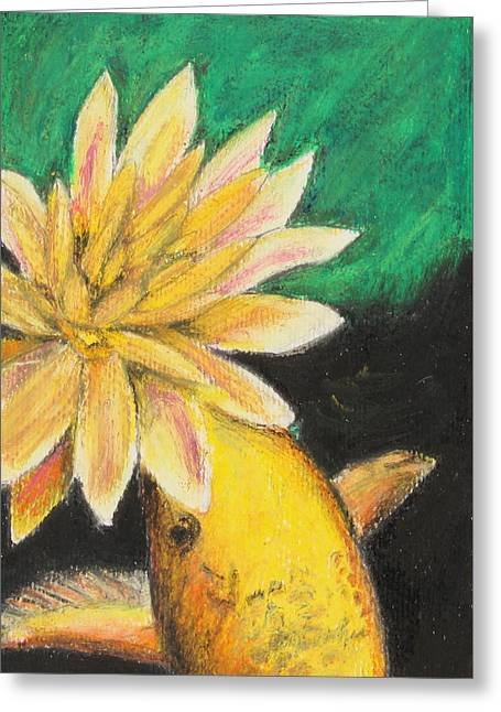 Serene Pastels Greeting Cards - Koi And The Lotus Flower Greeting Card by Jeanne Fischer