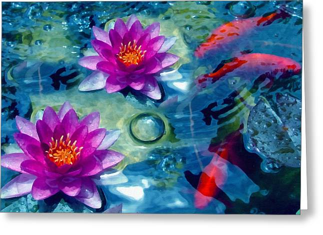 Brook Mixed Media Greeting Cards - Koi and The Water Lilies Greeting Card by Georgiana Romanovna