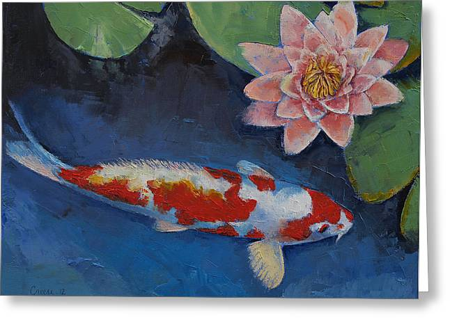 Water Color Artist Greeting Cards - Koi and Water Lily Greeting Card by Michael Creese